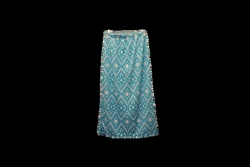 Midi Skirt in Aqua n White