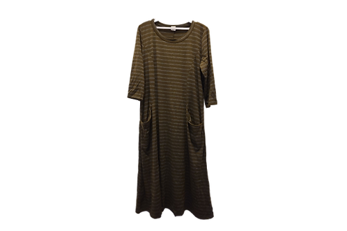 Maureen Dress in Striped Obscure Olive with Shimmery Charcoal Stripe