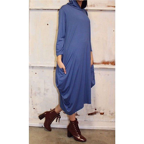 Celona Hoodie Pocket Dress in Micro Blue