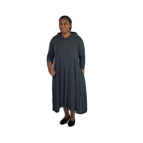 Celoa Hoodie Pocket Dress Ribbed Charcoal Gray