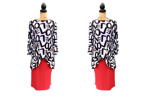 Glenna Top in LOVE print