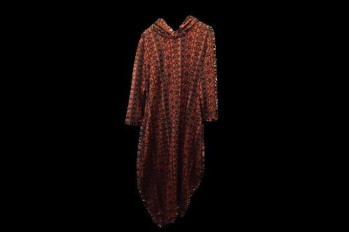 Celona Hoodie Pocket Dress in Black n Indian Red