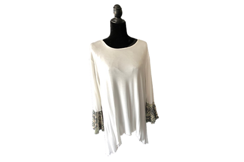 Bella Top in White with Soft Sage Print Bell Sleeves