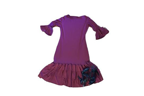 Mini Patty Ruffle Dress in Burgandy Wine
