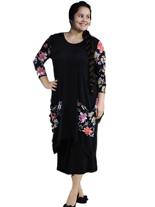 Cerena Top in Black w/Floral Contrast