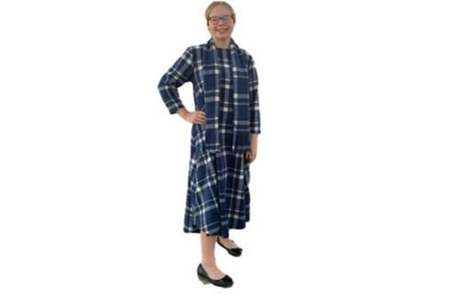Copy of Victoria Dress W/Scarf in Blue Plaid Flannel