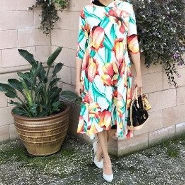 Celoa Hoodie Pocket Dress in Yellow Tulip Scuba