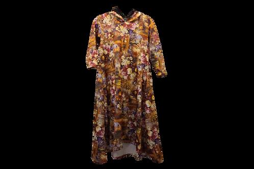Celoa Hoodie Pocket Dress in Scuba Vintage Victorian