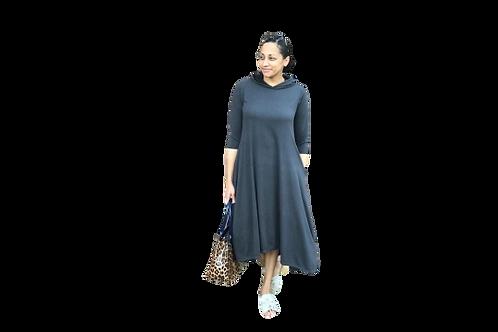 Celoa Hoodie Pocket Dress in Sweatshirt Charcoal