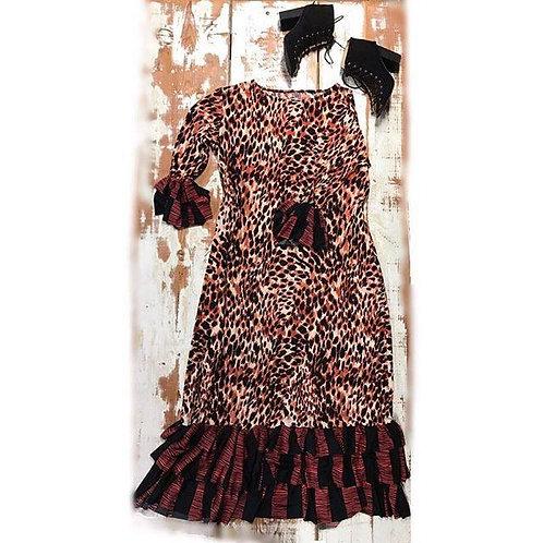 Patty Dress in Rust n Melon Animal Print w/Contrasting Ruffles