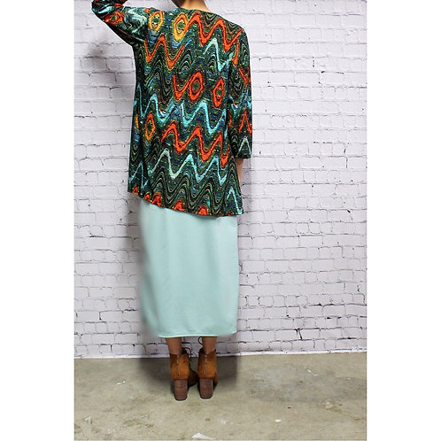 Glenna Top in Green Colorful Waves