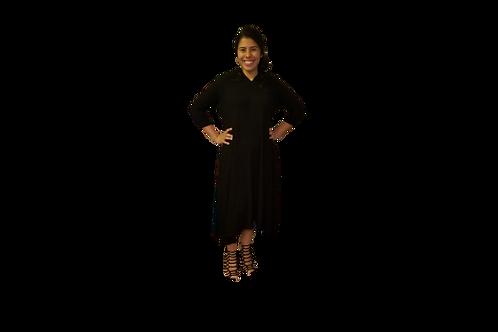 Celoa Hoodie Pocket Dress in Black