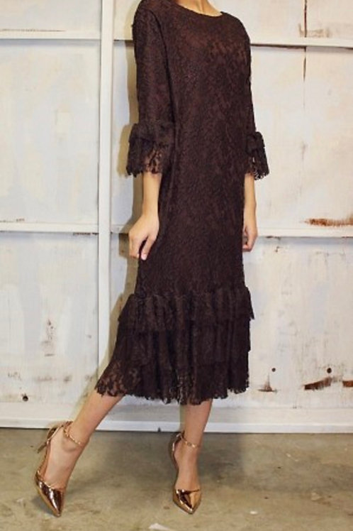 Lace Mini Patty Brown over Black Lining