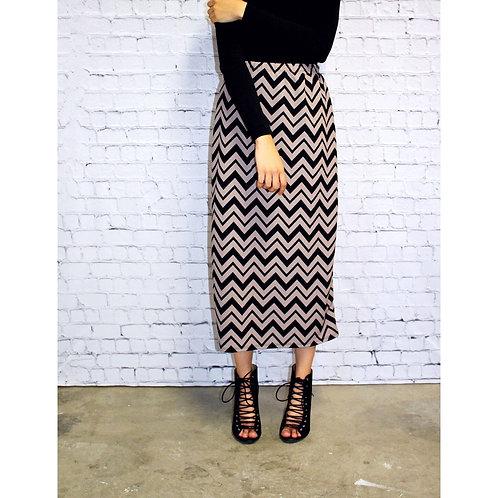Midi Skirt in Tan n Black Chevron