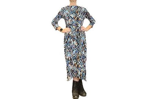 Jessica Dress in Teal n Black Geo