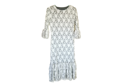 Lace Mini Patty White over Charcoal lining