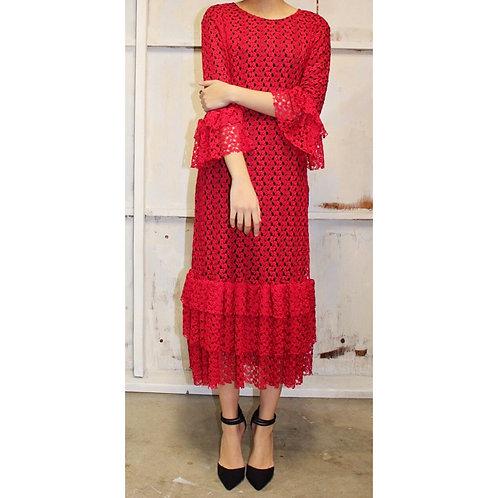 Lace Mini Patty Red Crochet over Black