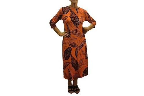 Amy Dress in Pumpkin n Black Leaf Print