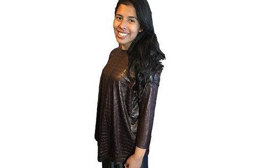 Donna Top in Faux Brown Leather