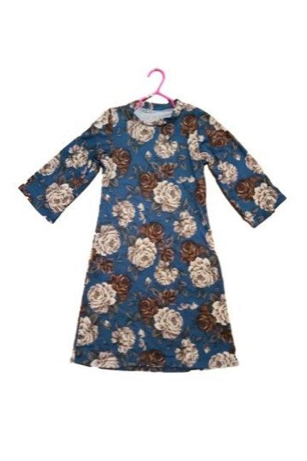 Amarri Lil Girls Dress in Buttery Soft Deep Teal Blue Floral