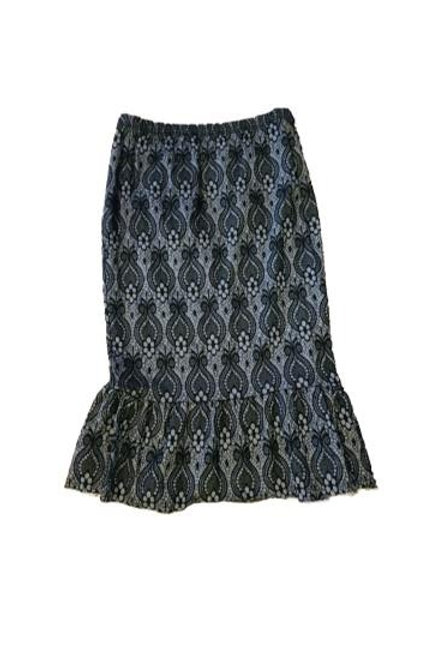 Single Ruffle Skirt in Stretch Navy Denim