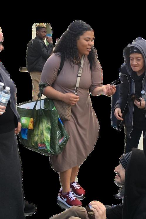 Celona Hoodie Pocket Dress Micro Camel