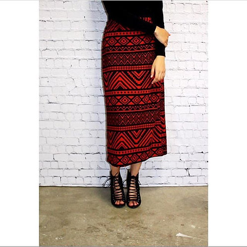 Midi Skirt in Blk n Red Indian Print