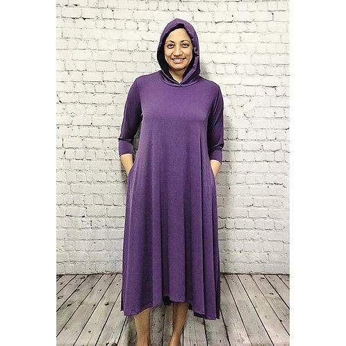 Celoa Hoodie Pocket Dress in Purple ITY