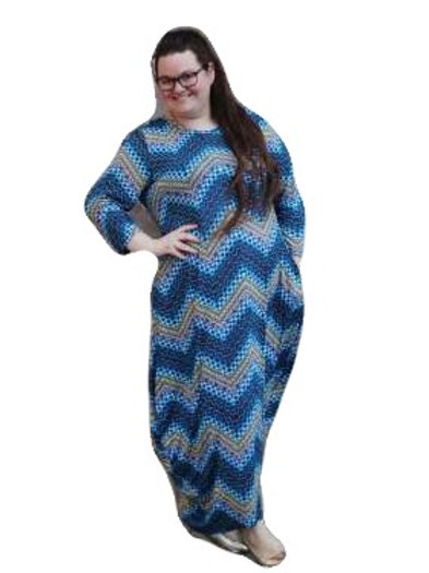 Long Cleona In Blue Yellow Chevron