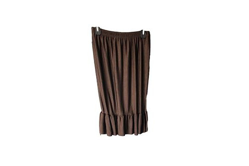 Single Ruffled Pencil Skirt Shimmery Brown