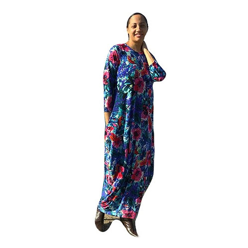 Long Cleona Blue Floral