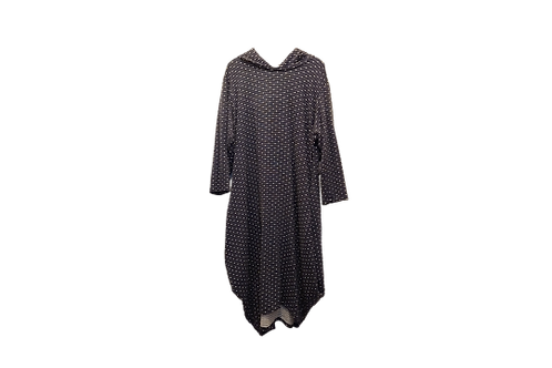 Celona Hoodie Pocket Dress in Navy Blue with White dots n lines