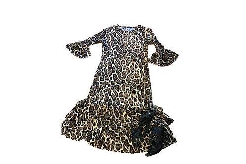 Mini Patty Ruffled dress in Animal Print