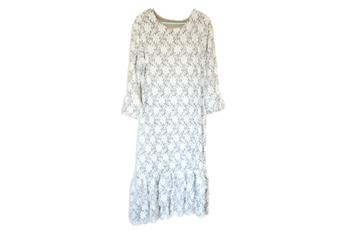 Lace Mini Patty White over Nude Lining