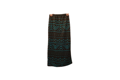 Midi Skirt in Teal n Black Aztec Print