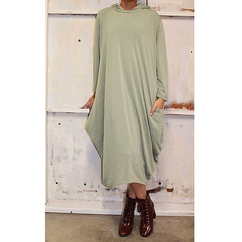 Celona Hoodie Pocket Dress Light Sage
