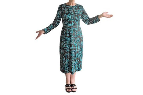 Amanda Dress in Teal n Black Geo