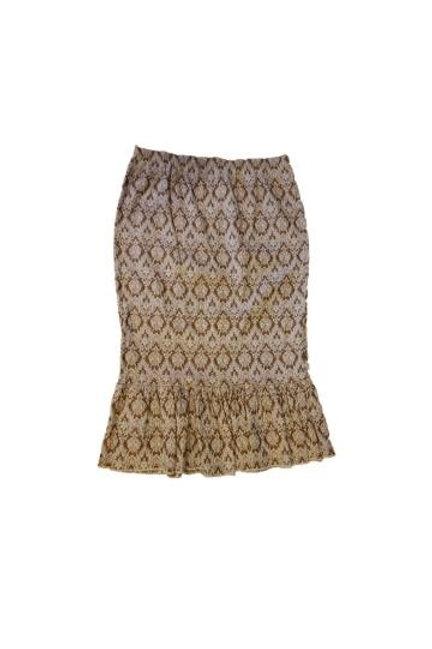 Single Ruffle Skirt in Stretch Tan Denim