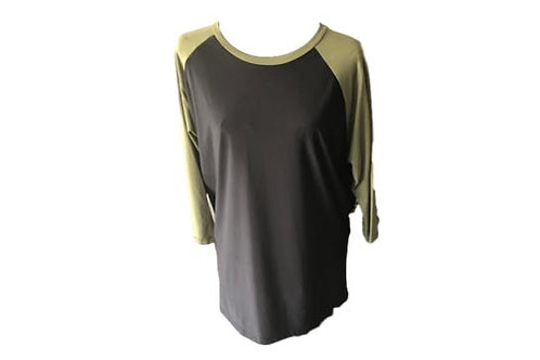 Candy top in Black with Olive Contrast