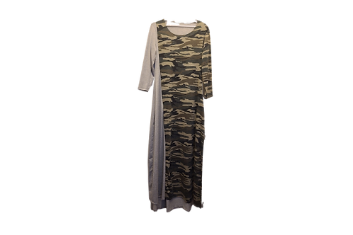 Melissa Maxi Dress in Camo with Heather Gray Contrast