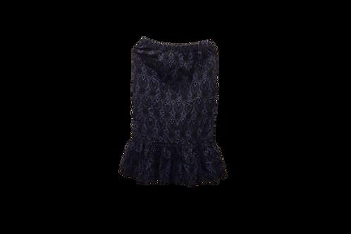 Single Ruffle Skirt Dark Navy n Black Stretch DENIM