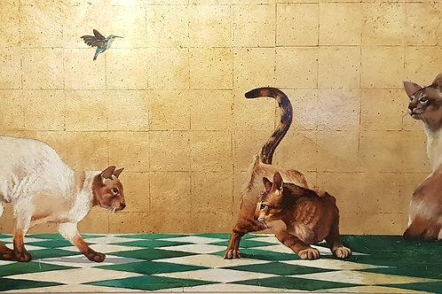Cats With Hummingbird