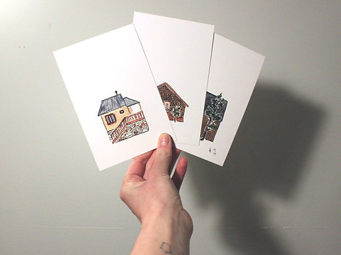 "SMALL HOMES // set of 3 art prints / 4x6"""