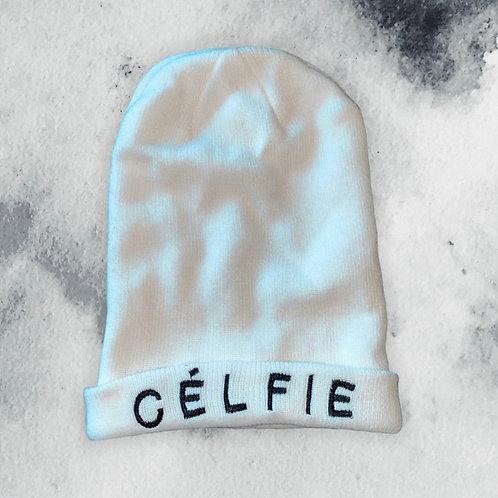 CÉLFIE WHITE BEANIE WINTER HAT