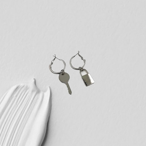 Handmade Silver Lock & Key Earrings