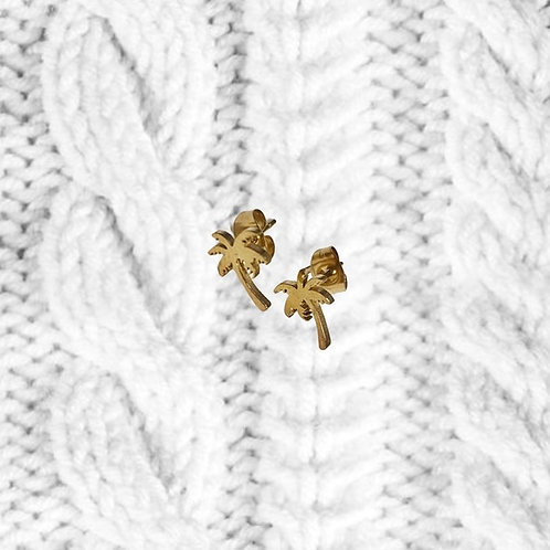 Gold Vermeil Plated Palm Tree Stud Earrings