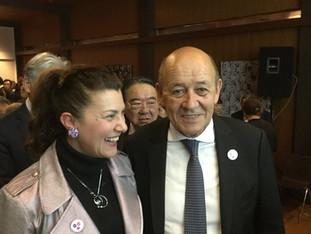 Visite du Ministre des Affaires Étrangères, Jean Yves Le Drian, au Japon. Réception à l'Ambassad