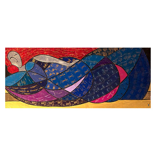Femme allongée aux voiles bleus
