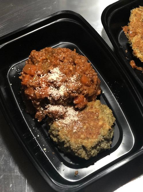 Bolognese & Garlic-Parm Quinoa Cakes