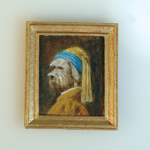 Dog With a Pearl Earring Oil Painting
